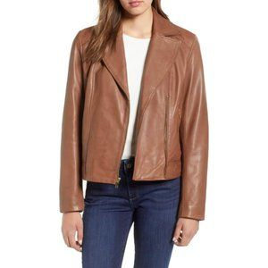 NEW! Cole Haan Drum Dyed Leather Moto Jacket